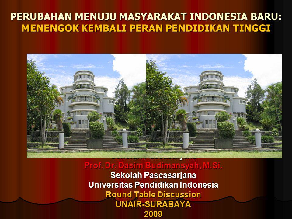 PERUBAHAN MENUJU MASYARAKAT INDONESIA BARU: MENENGOK KEMBALI PERAN PENDIDIKAN TINGGI Sekolah Pascasarjana Prof. Dr. Dasim Budimansyah, M.Si. Sekolah P