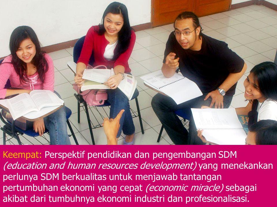 Keempat: Perspektif pendidikan dan pengembangan SDM (education and human resources development) yang menekankan perlunya SDM berkualitas untuk menjawa