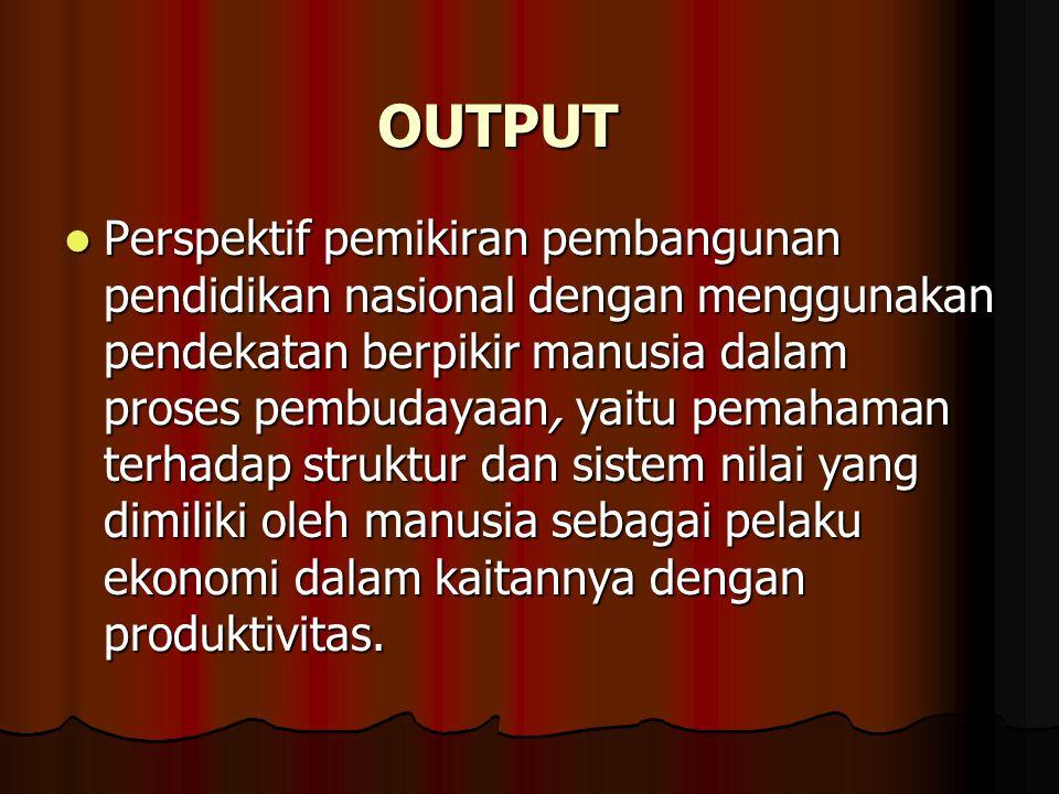 OUTPUT Perspektif pemikiran pembangunan pendidikan nasional dengan menggunakan pendekatan berpikir manusia dalam proses pembudayaan, yaitu pemahaman t