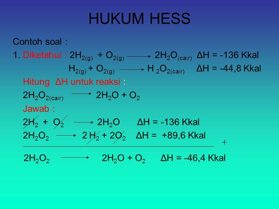 HUKUM HESS Contoh soal : 1. Diketahui : 2H 2(g) + O 2(g) 2H 2 O (cair) ΔH = -136 Kkal H 2(g) + O 2(g) H 2 O 2(cair) ΔH = -44,8 Kkal Hitung ΔH untuk re