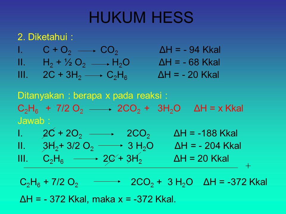HUKUM HESS 2. Diketahui : I.C + O 2 CO 2 ΔH = - 94 Kkal II.H 2 + ½ O 2 H 2 O ΔH = - 68 Kkal III.2C + 3H 2 C 2 H 6 ΔH = - 20 Kkal Ditanyakan : berapa x