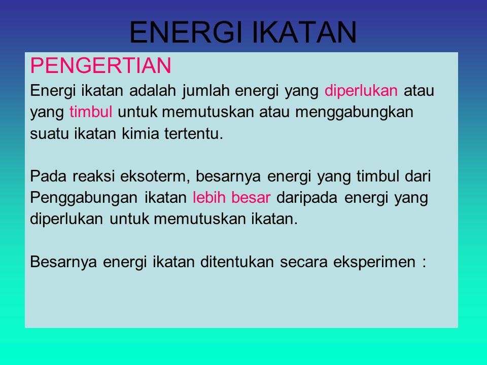 ENERGI IKATAN PENGERTIAN Energi ikatan adalah jumlah energi yang diperlukan atau yang timbul untuk memutuskan atau menggabungkan suatu ikatan kimia tertentu.