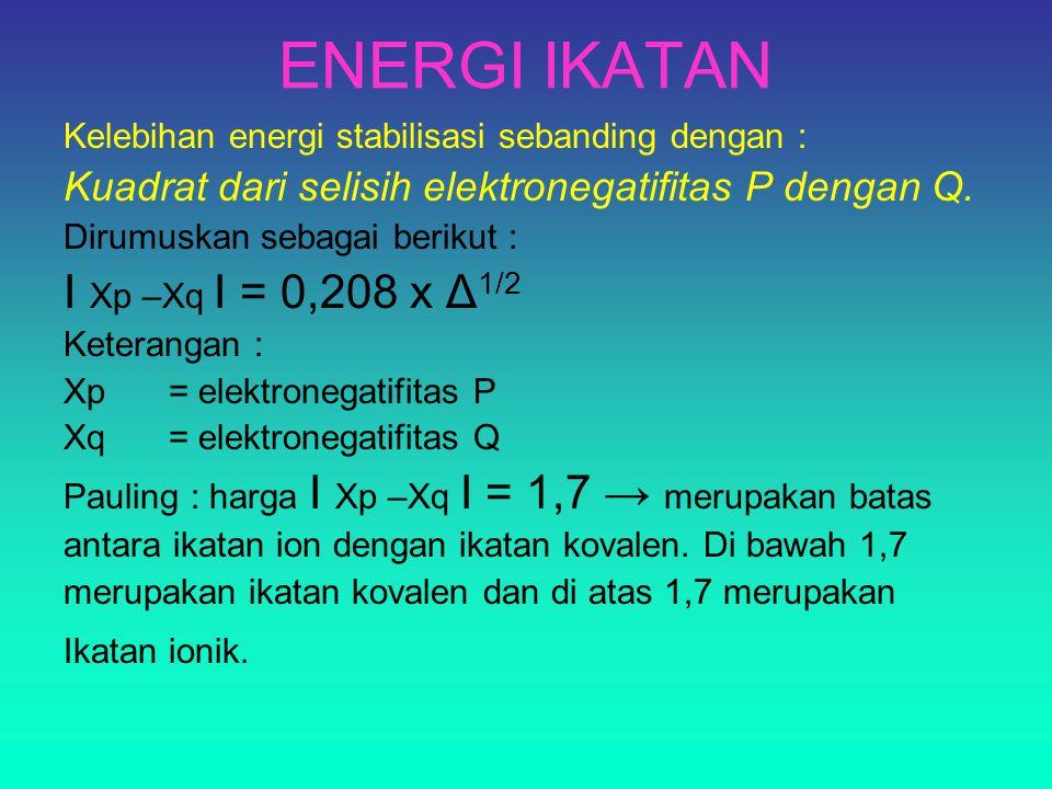 ENERGI IKATAN Kelebihan energi stabilisasi sebanding dengan : Kuadrat dari selisih elektronegatifitas P dengan Q. Dirumuskan sebagai berikut : I Xp –X