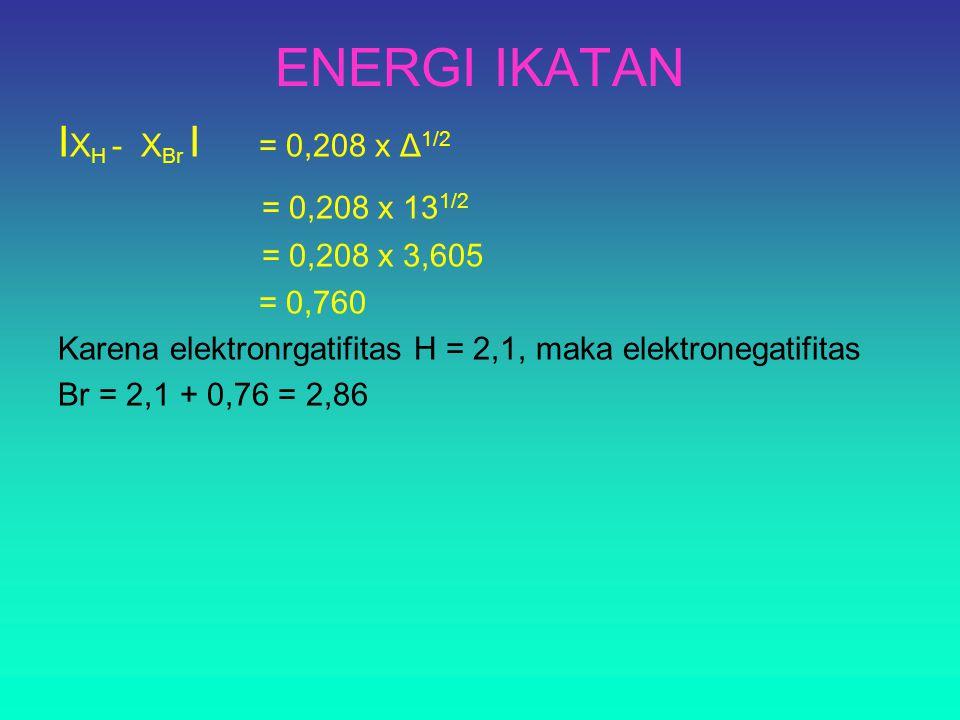 ENERGI IKATAN I X H - X Br I = 0,208 x Δ 1/2 = 0,208 x 13 1/2 = 0,208 x 3,605 = 0,760 Karena elektronrgatifitas H = 2,1, maka elektronegatifitas Br = 2,1 + 0,76 = 2,86