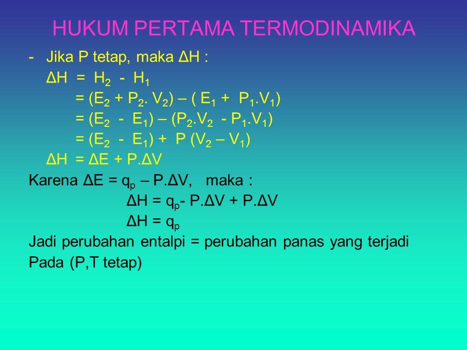 HUKUM PERTAMA TERMODINAMIKA -Jika P tetap, maka ΔH : ΔH = H 2 - H 1 = (E 2 + P 2. V 2 ) – ( E 1 + P 1.V 1 ) = (E 2 - E 1 ) – (P 2.V 2 - P 1.V 1 ) = (E