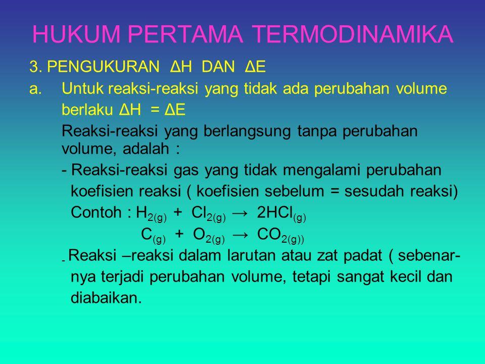 HUKUM PERTAMA TERMODINAMIKA 3. PENGUKURAN ΔH DAN ΔE a.Untuk reaksi-reaksi yang tidak ada perubahan volume berlaku ΔH = ΔE Reaksi-reaksi yang berlangsu