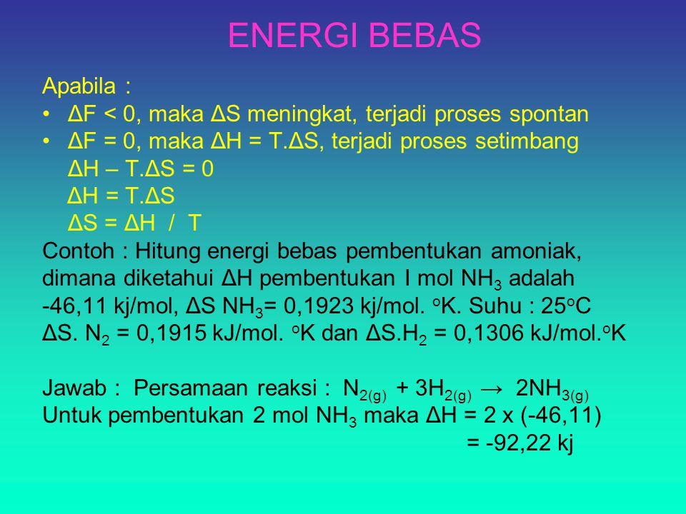 ENERGI BEBAS Apabila : ΔF < 0, maka ΔS meningkat, terjadi proses spontan ΔF = 0, maka ΔH = T.ΔS, terjadi proses setimbang ΔH – T.ΔS = 0 ΔH = T.ΔS ΔS = ΔH / T Contoh : Hitung energi bebas pembentukan amoniak, dimana diketahui ΔH pembentukan I mol NH 3 adalah -46,11 kj/mol, ΔS NH 3 = 0,1923 kj/mol.
