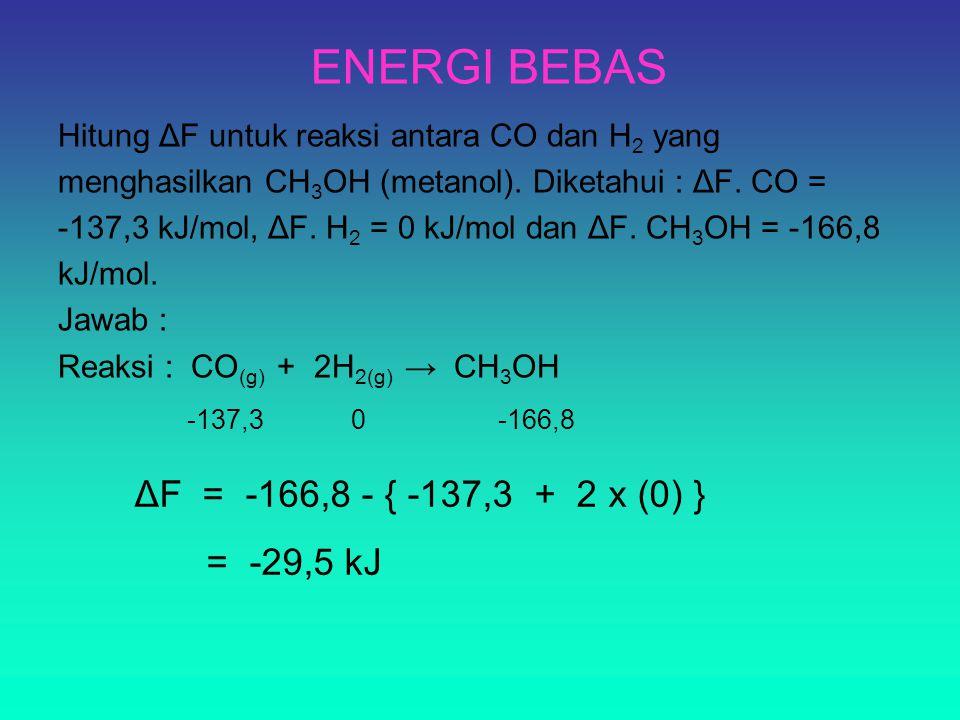 ENERGI BEBAS Hitung ΔF untuk reaksi antara CO dan H 2 yang menghasilkan CH 3 OH (metanol). Diketahui : ΔF. CO = -137,3 kJ/mol, ΔF. H 2 = 0 kJ/mol dan