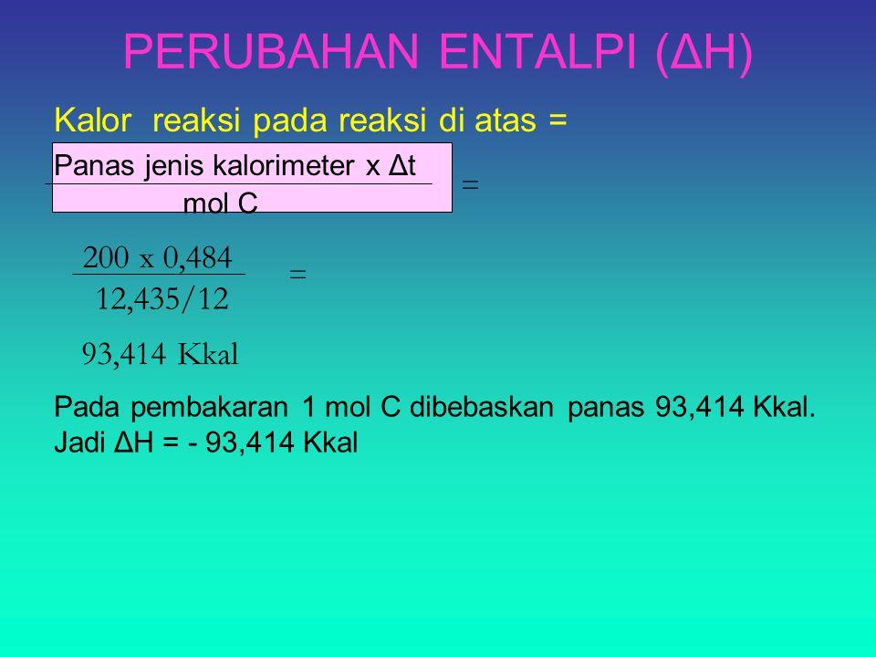 PERUBAHAN ENTALPI (ΔH) mol C Kalor reaksi pada reaksi di atas = Panas jenis kalorimeter x Δt = 200 x 0,484 12,435/12 = 93,414 Kkal Pada pembakaran 1 mol C dibebaskan panas 93,414 Kkal.
