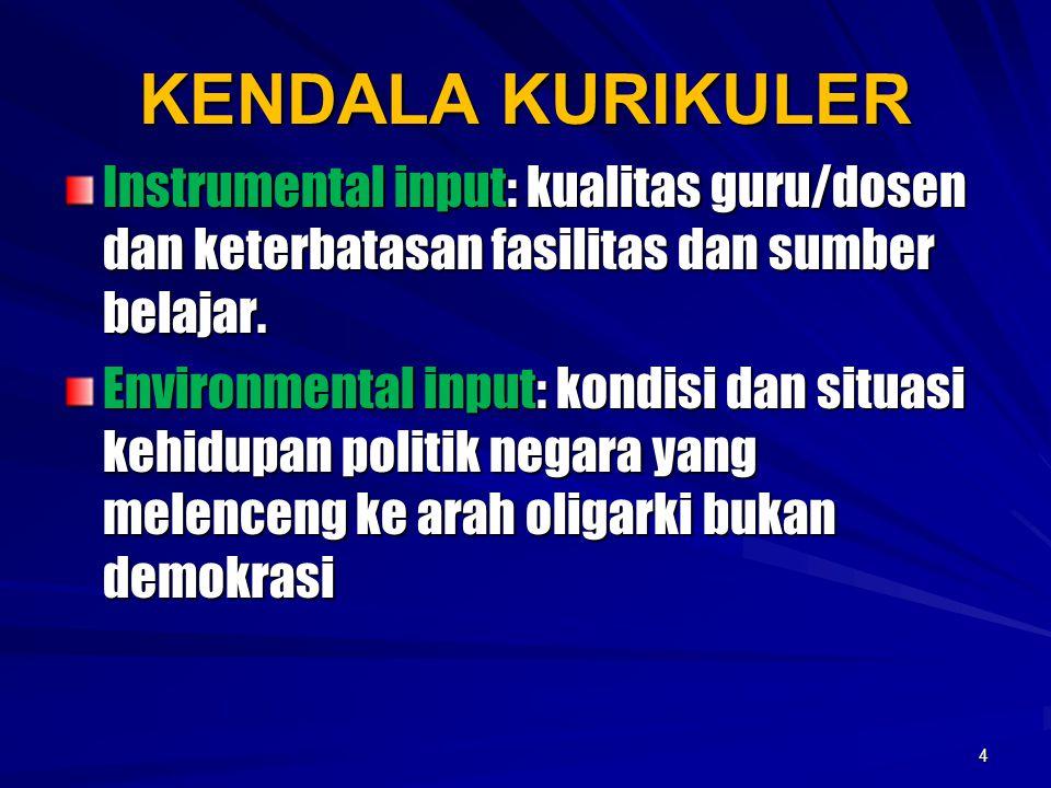 KENDALA KURIKULER Instrumental input: kualitas guru/dosen dan keterbatasan fasilitas dan sumber belajar. Environmental input: kondisi dan situasi kehi