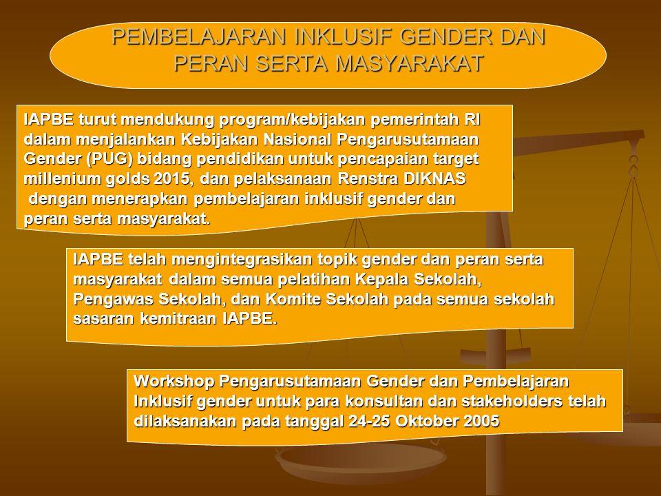 IAPBE turut mendukung program/kebijakan pemerintah RI dalam menjalankan Kebijakan Nasional Pengarusutamaan Gender (PUG) bidang pendidikan untuk pencap