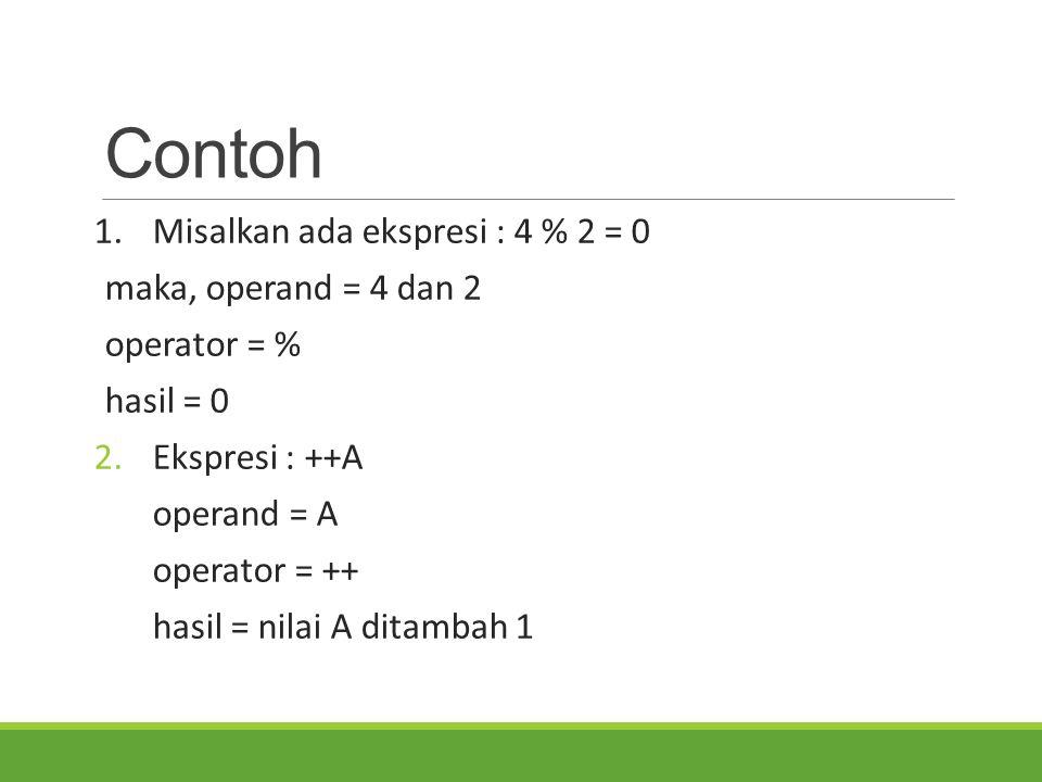 Contoh 1.Misalkan ada ekspresi : 4 % 2 = 0 maka, operand = 4 dan 2 operator = % hasil = 0 2.Ekspresi : ++A operand = A operator = ++ hasil = nilai A d