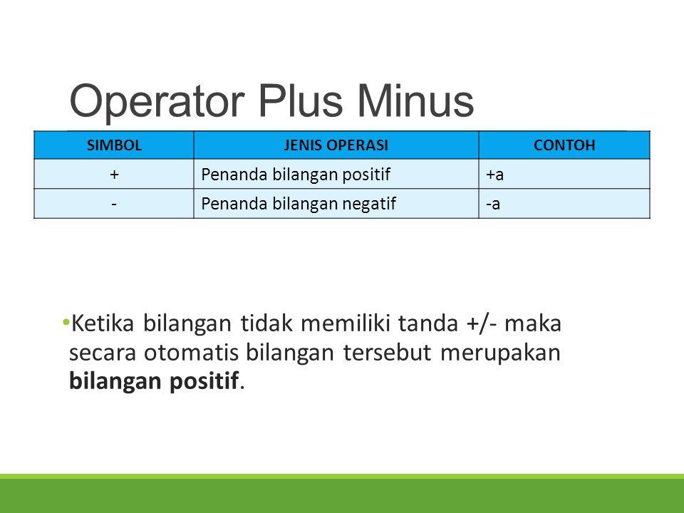Operator Plus Minus Ketika bilangan tidak memiliki tanda +/- maka secara otomatis bilangan tersebut merupakan bilangan positif. SIMBOLJENIS OPERASICON