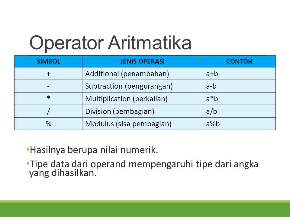 Operator Aritmatika Hasilnya berupa nilai numerik. Tipe data dari operand mempengaruhi tipe dari angka yang dihasilkan. SIMBOLJENIS OPERASICONTOH +Add