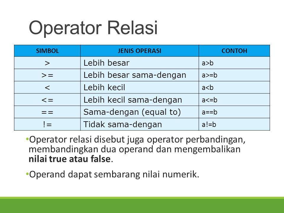 Operator Relasi Operator relasi disebut juga operator perbandingan, membandingkan dua operand dan mengembalikan nilai true atau false. Operand dapat s