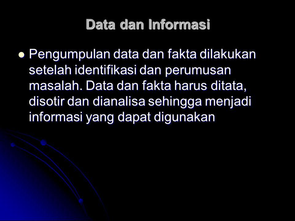 Data dan Informasi Pengumpulan data dan fakta dilakukan setelah identifikasi dan perumusan masalah. Data dan fakta harus ditata, disotir dan dianalisa
