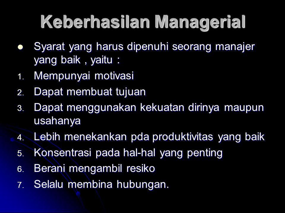 Keberhasilan Managerial Syarat yang harus dipenuhi seorang manajer yang baik, yaitu : Syarat yang harus dipenuhi seorang manajer yang baik, yaitu : 1.