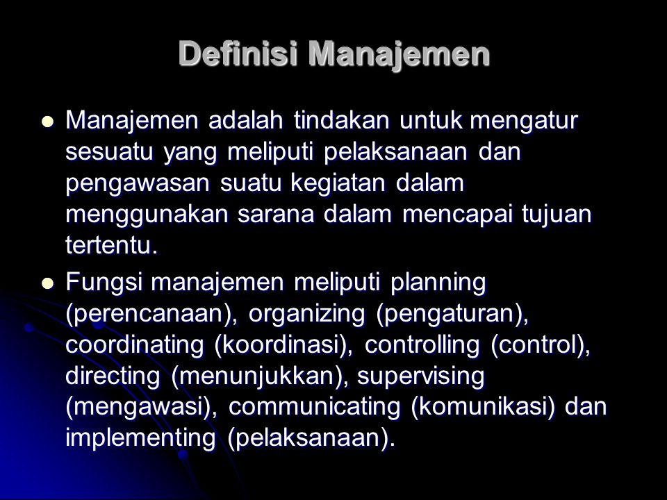 Unsur-unsur manajemen Manusia yang melaksanakan manajemen Manusia yang melaksanakan manajemen Seni, bukan sekedar ilmu Seni, bukan sekedar ilmu Berhasil, gemilang (memenuhi yang diinginkan) Berhasil, gemilang (memenuhi yang diinginkan) Sumber daya yang tersedia Sumber daya yang tersedia Manajemen adalah seni untuk mencapai hasil yang diinginkan secara gemilang dengan sumber daya yang tersedia bagi organisasi Manajemen adalah seni untuk mencapai hasil yang diinginkan secara gemilang dengan sumber daya yang tersedia bagi organisasi