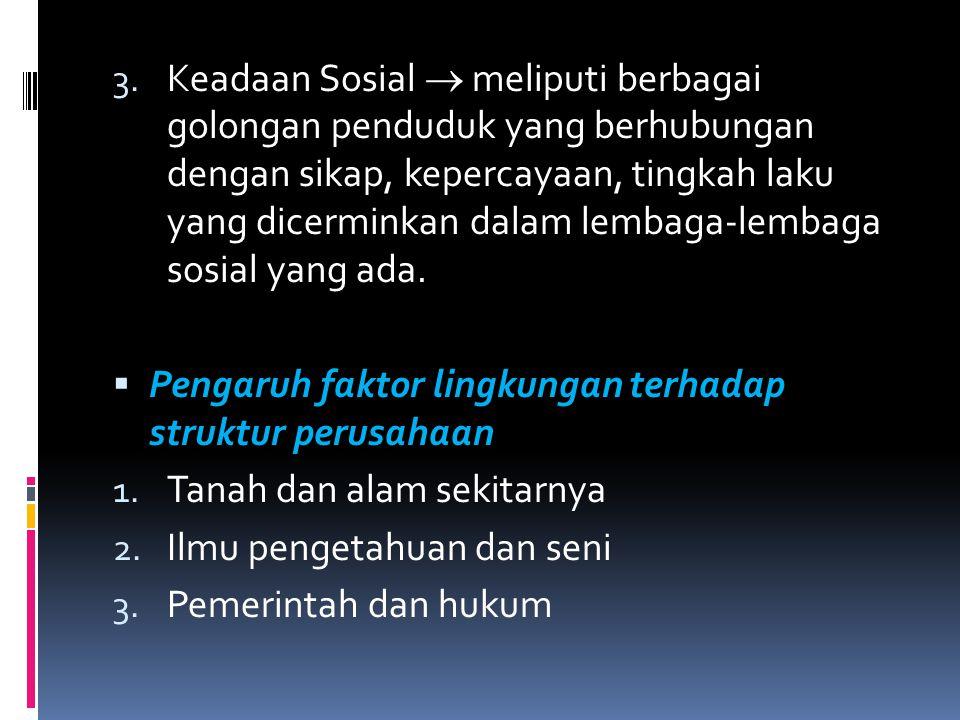 3. Keadaan Sosial  meliputi berbagai golongan penduduk yang berhubungan dengan sikap, kepercayaan, tingkah laku yang dicerminkan dalam lembaga-lembag