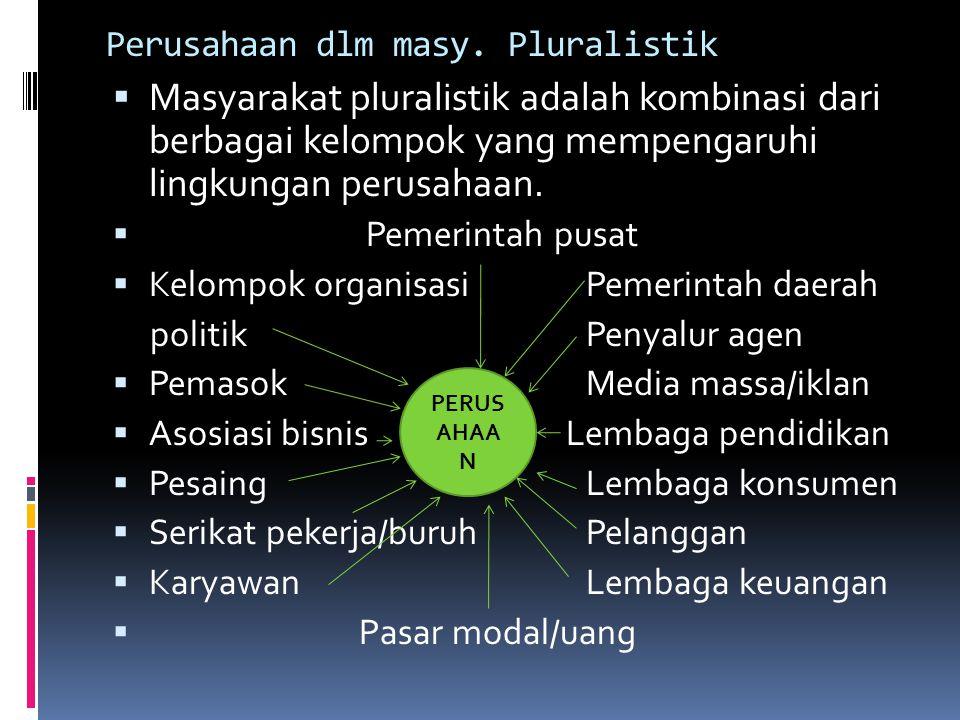 Perusahaan dlm masy. Pluralistik  Masyarakat pluralistik adalah kombinasi dari berbagai kelompok yang mempengaruhi lingkungan perusahaan.  Pemerinta