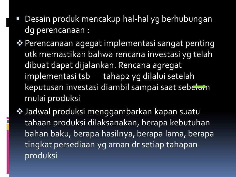  Desain produk mencakup hal-hal yg berhubungan dg perencanaan :  Perencanaan agegat implementasi sangat penting utk memastikan bahwa rencana investa