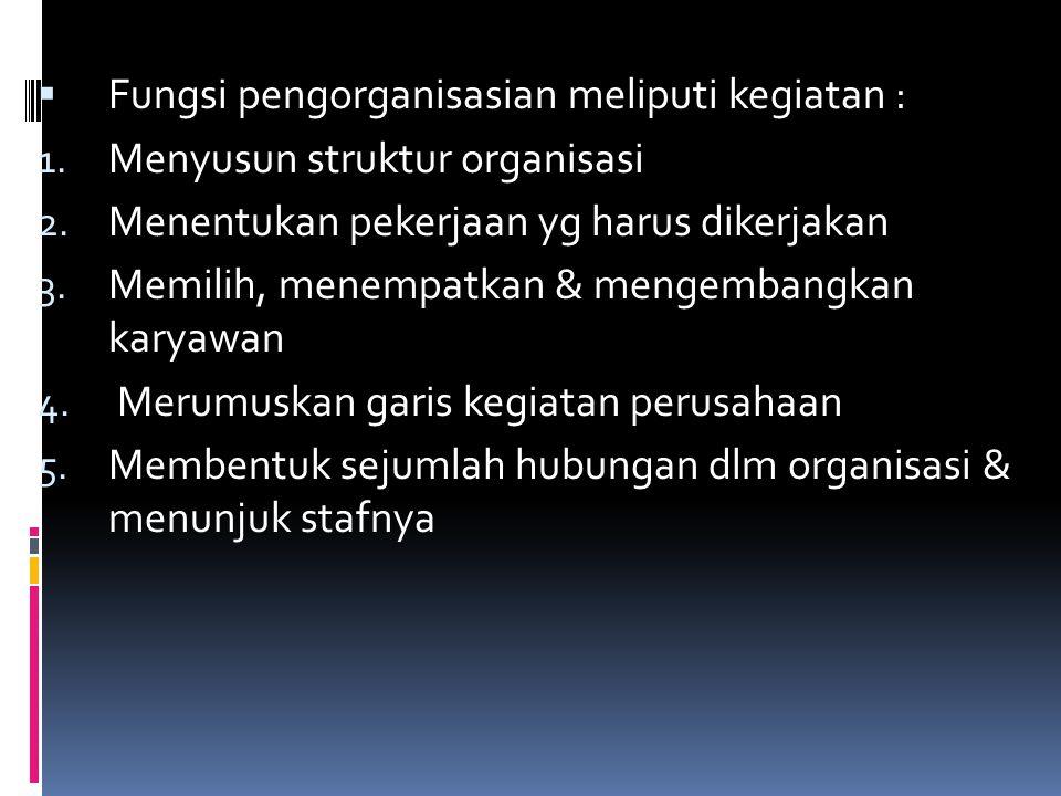  Fungsi pengorganisasian meliputi kegiatan : 1. Menyusun struktur organisasi 2. Menentukan pekerjaan yg harus dikerjakan 3. Memilih, menempatkan & me