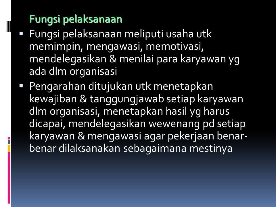  Fungi kordinasi lebih menekanan pd hubungan koordinasi antar individu atas berbagai aktivitas organisasi sehingga diperoleh harmonisasi dlm setiap pelaksanaan kegiatan Fungsi pengawasan  Fungsi pengawasan menekankan pd bagaimana membangun sistem pengawasan & melaksanakan pengawasan terhadap pelaksanaan rencana yg telah dibuat agar tetap berjalan sesuai dg rel yg telah ditetapkan