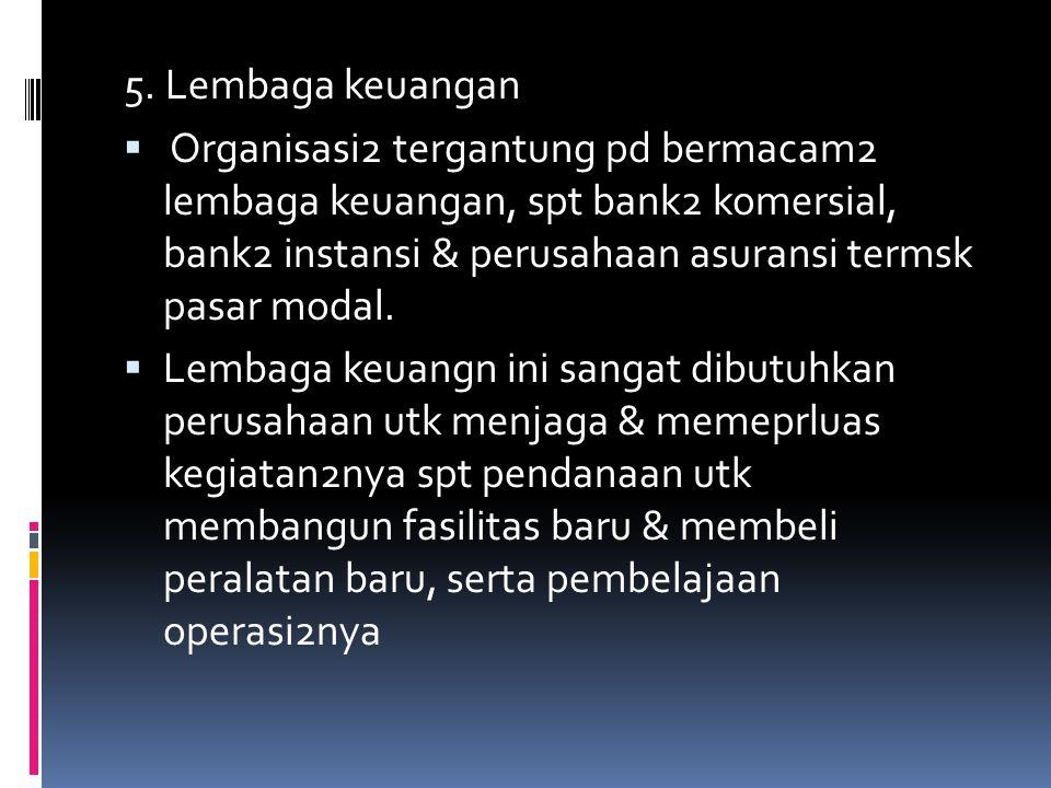 5. Lembaga keuangan  Organisasi2 tergantung pd bermacam2 lembaga keuangan, spt bank2 komersial, bank2 instansi & perusahaan asuransi termsk pasar mod