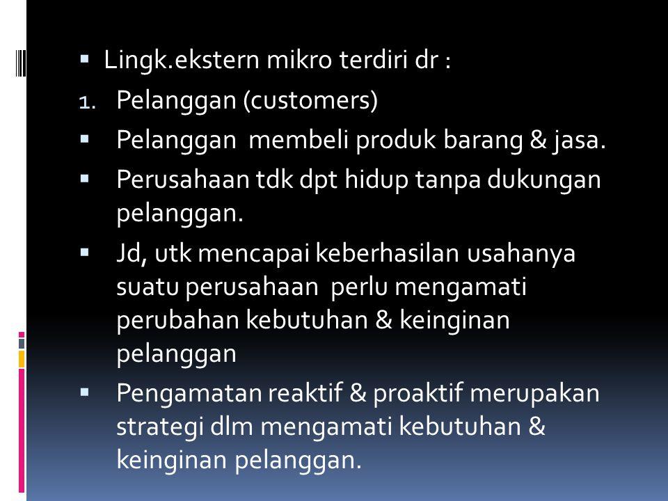  Lingk.ekstern mikro terdiri dr : 1. Pelanggan (customers)  Pelanggan membeli produk barang & jasa.  Perusahaan tdk dpt hidup tanpa dukungan pelang