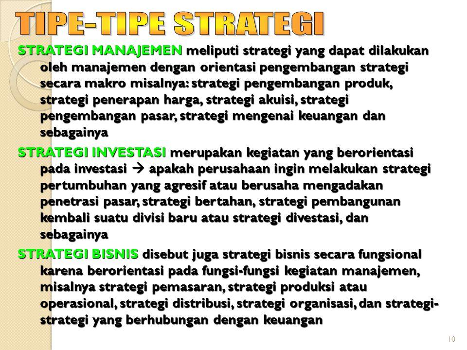 10 STRATEGI MANAJEMEN meliputi strategi yang dapat dilakukan oleh manajemen dengan orientasi pengembangan strategi secara makro misalnya: strategi pengembangan produk, strategi penerapan harga, strategi akuisi, strategi pengembangan pasar, strategi mengenai keuangan dan sebagainya STRATEGI INVESTASI merupakan kegiatan yang berorientasi pada investasi  apakah perusahaan ingin melakukan strategi pertumbuhan yang agresif atau berusaha mengadakan penetrasi pasar, strategi bertahan, strategi pembangunan kembali suatu divisi baru atau strategi divestasi, dan sebagainya STRATEGI BISNIS disebut juga strategi bisnis secara fungsional karena berorientasi pada fungsi-fungsi kegiatan manajemen, misalnya strategi pemasaran, strategi produksi atau operasional, strategi distribusi, strategi organisasi, dan strategi- strategi yang berhubungan dengan keuangan
