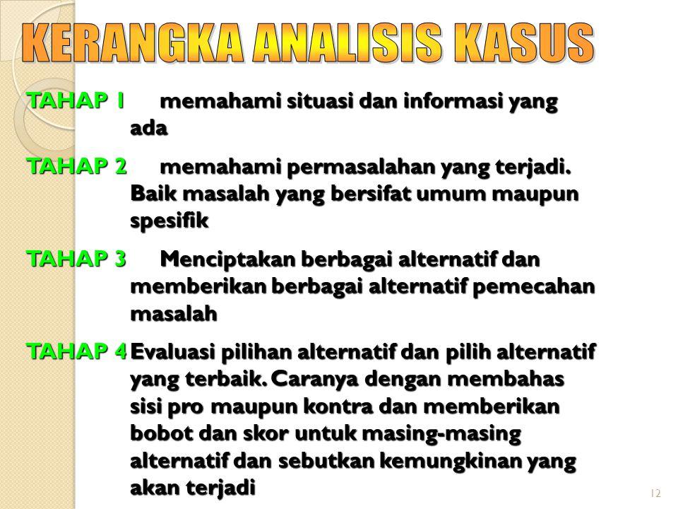 12 TAHAP 1 memahami situasi dan informasi yang ada TAHAP 2 memahami permasalahan yang terjadi. Baik masalah yang bersifat umum maupun spesifik TAHAP 3