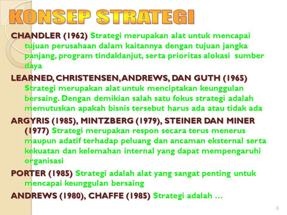 8 CHANDLER (1962) Strategi merupakan alat untuk mencapai tujuan perusahaan dalam kaitannya dengan tujuan jangka panjang, program tindaklanjut, serta prioritas alokasi sumber daya LEARNED, CHRISTENSEN, ANDREWS, DAN GUTH (1965) Strategi merupakan alat untuk menciptakan keunggulan bersaing.