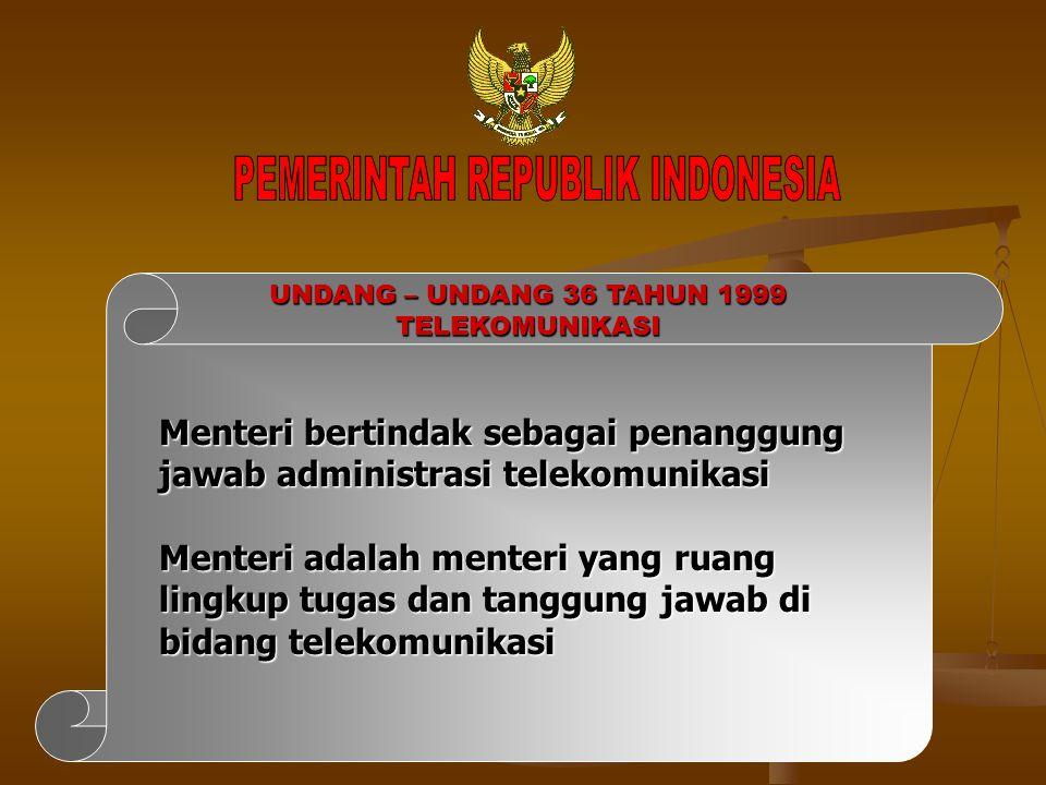 Menteri bertindak sebagai penanggung jawab administrasi telekomunikasi Menteri adalah menteri yang ruang lingkup tugas dan tanggung jawab di bidang te