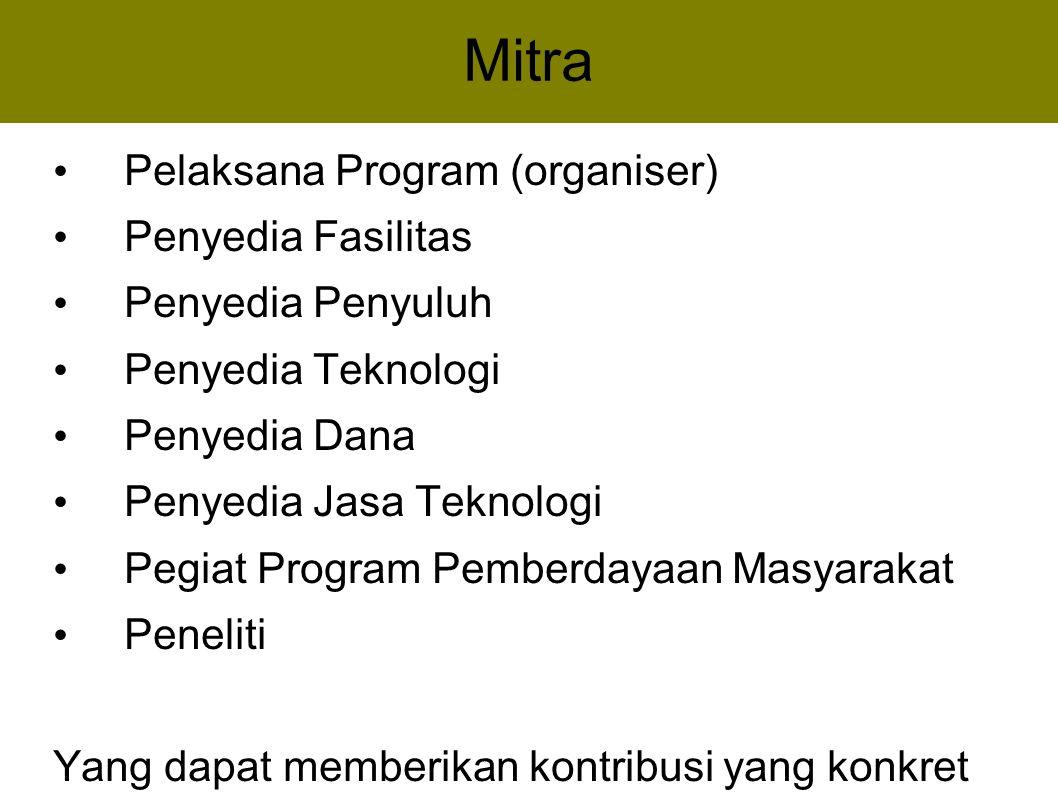 Mitra Pelaksana Program (organiser) Penyedia Fasilitas Penyedia Penyuluh Penyedia Teknologi Penyedia Dana Penyedia Jasa Teknologi Pegiat Program Pembe
