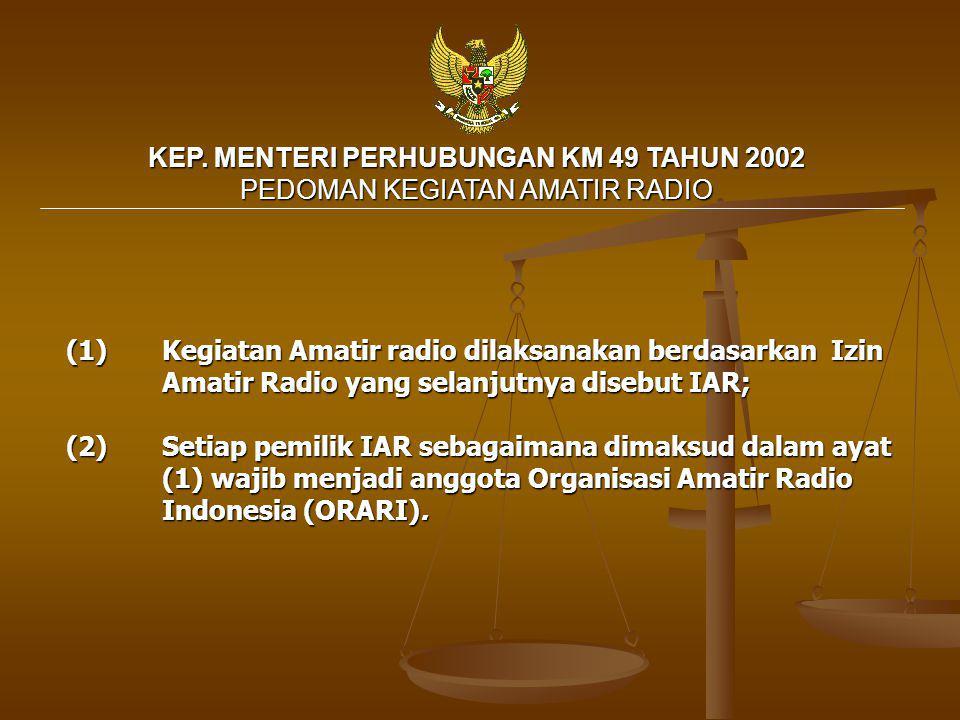 KEP. MENTERI PERHUBUNGAN KM 49 TAHUN 2002 PEDOMAN KEGIATAN AMATIR RADIO (1)Kegiatan Amatir radio dilaksanakan berdasarkan Izin Amatir Radio yang selan
