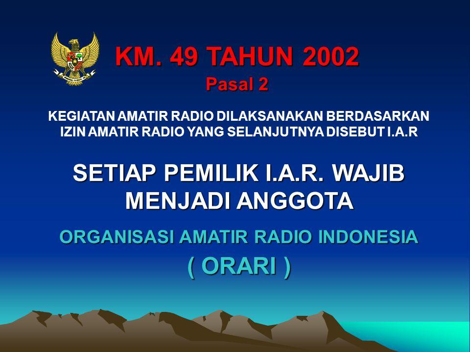 KM. 49 TAHUN 2002 Pasal 2 KEGIATAN AMATIR RADIO DILAKSANAKAN BERDASARKAN IZIN AMATIR RADIO YANG SELANJUTNYA DISEBUT I.A.R SETIAP PEMILIK I.A.R. WAJIB