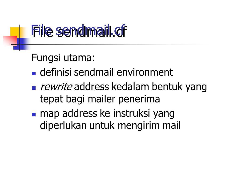 File sendmail.cf Fungsi utama: definisi sendmail environment rewrite address kedalam bentuk yang tepat bagi mailer penerima map address ke instruksi yang diperlukan untuk mengirim mail