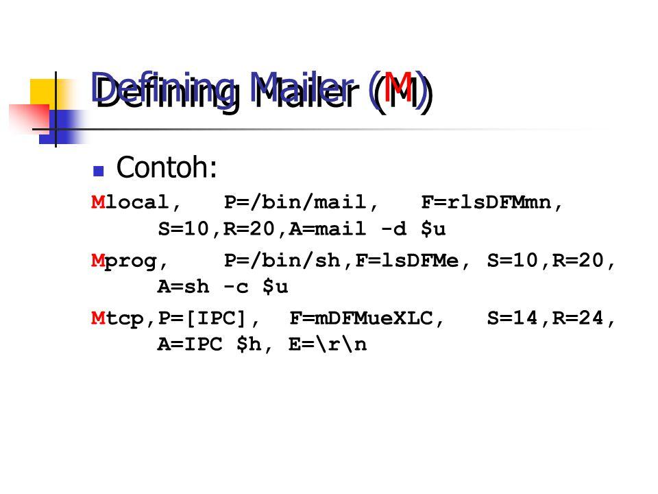 Defining Mailer (M) Contoh: Mlocal,P=/bin/mail,F=rlsDFMmn, S=10,R=20,A=mail -d $u Mprog,P=/bin/sh,F=lsDFMe,S=10,R=20, A=sh -c $u Mtcp,P=[IPC],F=mDFMueXLC,S=14,R=24, A=IPC $h, E=\r\n