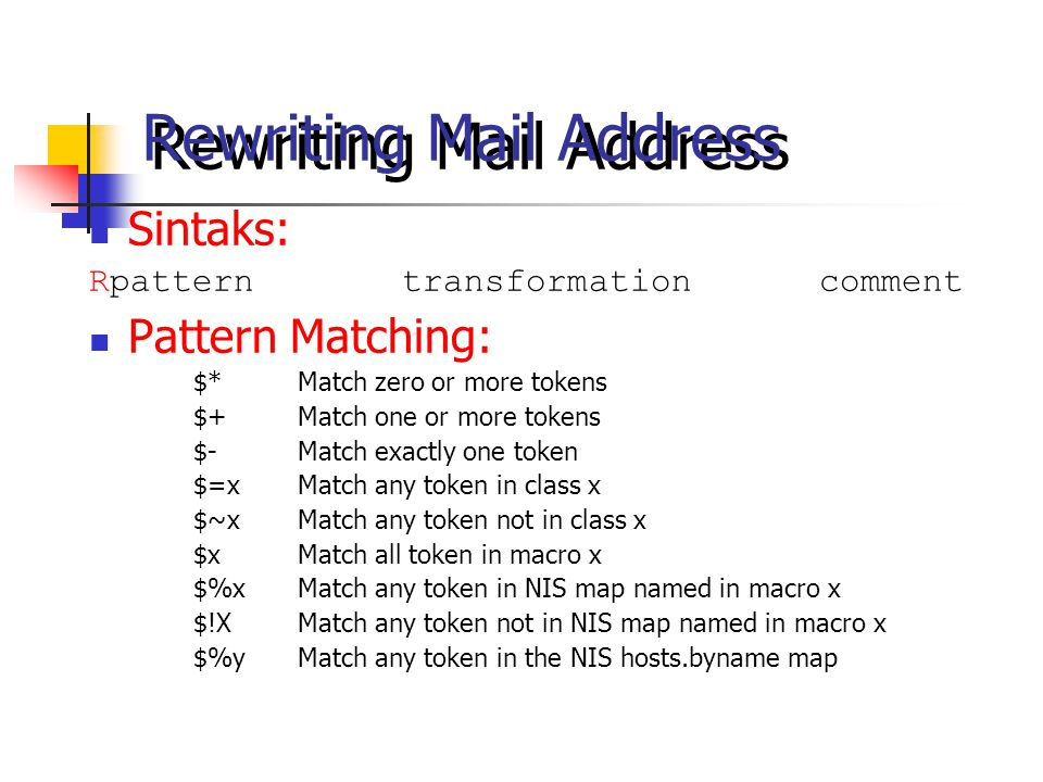 Rewriting Mail Address Sintaks: Rpatterntransformationcomment Pattern Matching: $*Match zero or more tokens $+Match one or more tokens $-Match exactly
