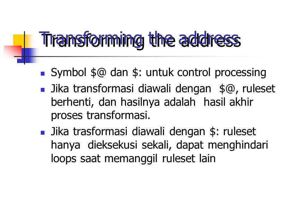 Transforming the address Symbol $@ dan $: untuk control processing Jika transformasi diawali dengan $@, ruleset berhenti, dan hasilnya adalah hasil akhir proses transformasi.
