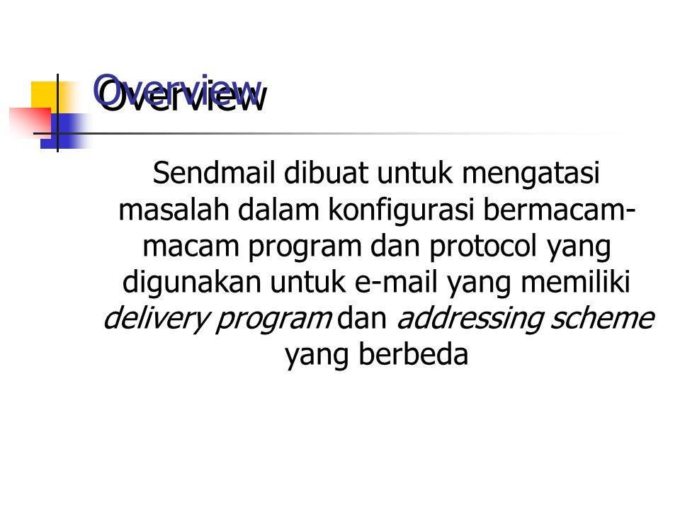 Overview Sendmail dibuat untuk mengatasi masalah dalam konfigurasi bermacam- macam program dan protocol yang digunakan untuk e-mail yang memiliki delivery program dan addressing scheme yang berbeda