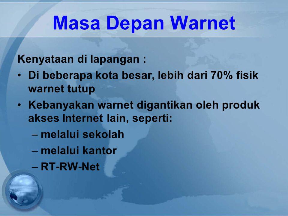 Masa Depan Warnet Kenyataan di lapangan : Di beberapa kota besar, lebih dari 70% fisik warnet tutup Kebanyakan warnet digantikan oleh produk akses Internet lain, seperti: –melalui sekolah –melalui kantor –RT-RW-Net