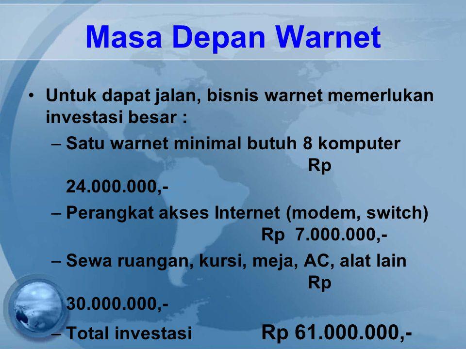Masa Depan Warnet Untuk dapat jalan, bisnis warnet memerlukan investasi besar : –Satu warnet minimal butuh 8 komputer Rp 24.000.000,- –Perangkat akses Internet (modem, switch) Rp 7.000.000,- –Sewa ruangan, kursi, meja, AC, alat lain Rp 30.000.000,- –Total investasi Rp 61.000.000,-