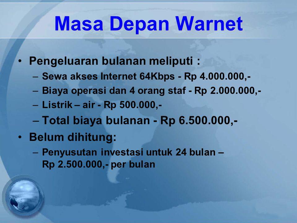 Masa Depan Warnet Pengeluaran bulanan meliputi : –Sewa akses Internet 64Kbps - Rp 4.000.000,- –Biaya operasi dan 4 orang staf - Rp 2.000.000,- –Listrik – air - Rp 500.000,- –Total biaya bulanan - Rp 6.500.000,- Belum dihitung: –Penyusutan investasi untuk 24 bulan – Rp 2.500.000,- per bulan
