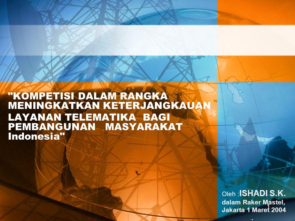 1 KOMPETISI DALAM RANGKA MENINGKATKAN KETERJANGKAUAN LAYANAN TELEMATIKA BAGI PEMBANGUNAN MASYARAKAT Indonesia Oleh : ISHADI S.K.