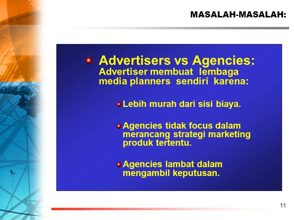 11 Advertisers vs Agencies: Advertiser membuat lembaga media planners sendiri karena: Lebih murah dari sisi biaya. Agencies tidak focus dalam merancan