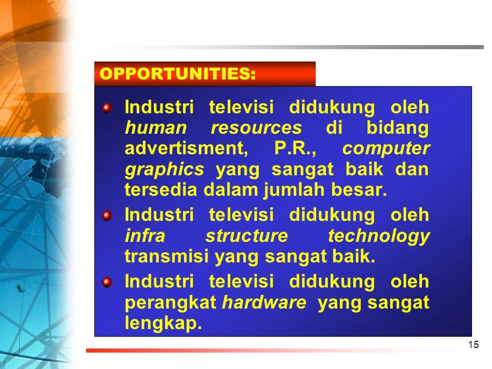 15 Industri televisi didukung oleh human resources di bidang advertisment, P.R., computer graphics yang sangat baik dan tersedia dalam jumlah besar. I