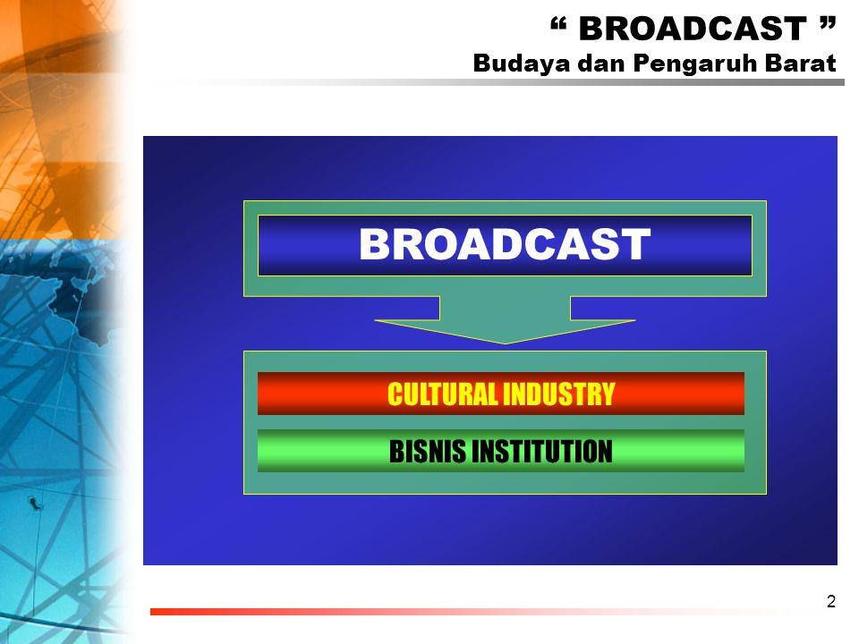 2 BROADCAST Budaya dan Pengaruh Barat CULTURAL INDUSTRY BISNIS INSTITUTION BROADCAST