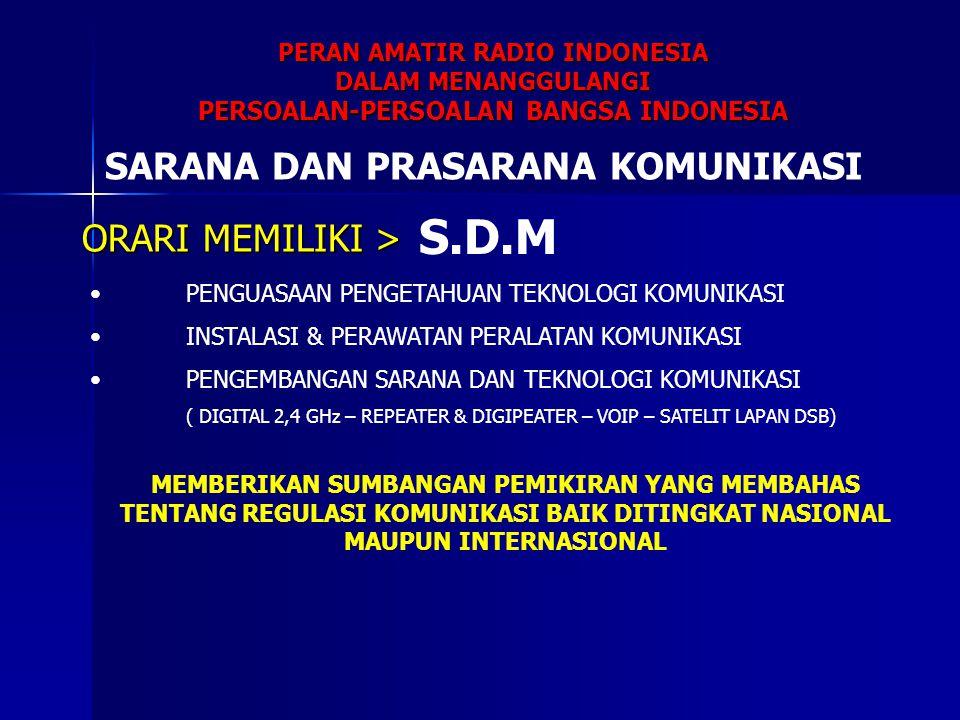 PERAN AMATIR RADIO INDONESIA DALAM MENANGGULANGI PERSOALAN-PERSOALAN BANGSA INDONESIA SARANA DAN PRASARANA KOMUNIKASI S.D.M PENGUASAAN PENGETAHUAN TEK