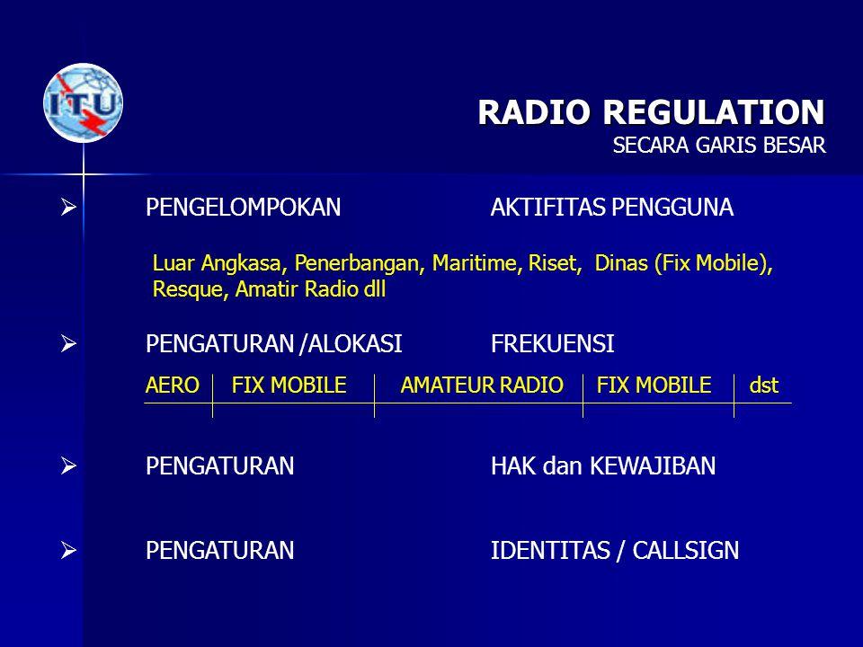 RADIO REGULATION  PENGELOMPOKANAKTIFITAS PENGGUNA  PENGATURAN /ALOKASIFREKUENSI  PENGATURAN HAK dan KEWAJIBAN  PENGATURAN IDENTITAS / CALLSIGN Lua